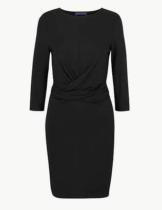 Marks and Spencer PETITE Twisted 3/4 Sleeve Bodycon Mini Dress