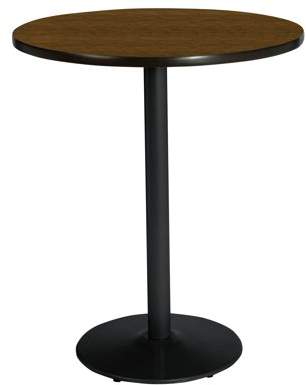 "KFI seating 42"" Round Pedestal Breakroom Table with Walnut Top, Round Black Base, Bistro Height"