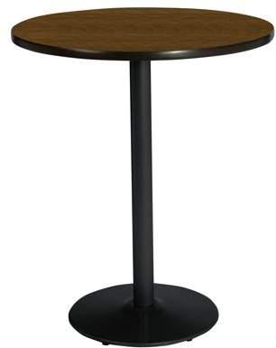 "KFI Seating KFI 42"" Round Pedestal Breakroom Table with Walnut Top, Round Black Base, Bistro Height"