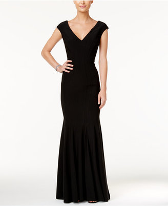 Betsy & Adam V-Neck Mermaid Gown $239 thestylecure.com