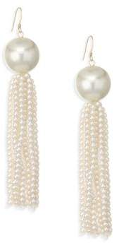 Kenneth Jay Lane Faux Pearl Tassel Earrings