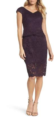 La Femme Embellished Lace Sheath Dress