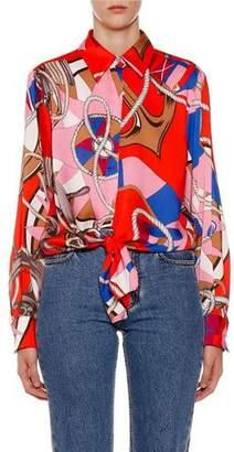 MSGM Abstract-Print Button-Down Long-Sleeve Shirt w/ Tie-Hem