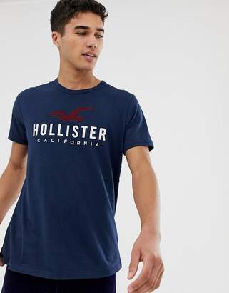 Hollister Iconic Applique Logo T-Shirt in Navy