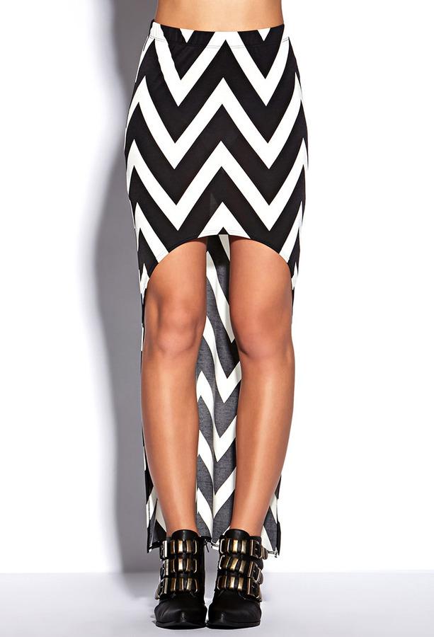 Forever 21 High-Low Chevron Skirt