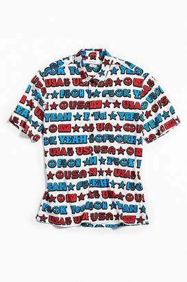 Urban Outfitters F Yeah USA Short Sleeve Button-Down Shirt