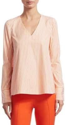 Akris Punto Long Sleeve V-Neck Striped Blouse