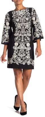 Sandra Darren Lace Printed Shift Dress