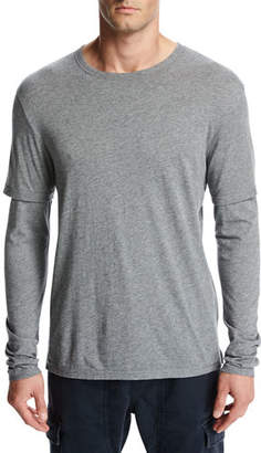 Vince Double-Layer Cotton-Modal Long-Sleeve T-Shirt