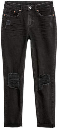H&M Boyfriend Slim Low Jeans - Black