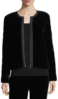 Eileen Fisher Quilted Velvet Bomber Jacket, Plus Size