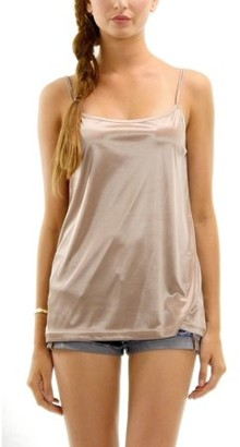 Melody [Shop Lev] Women's Basic Satin Full Slip Top Camisole (MOCHA, X-LARGE)