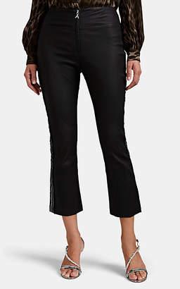 Area Women's Drew Embellished Leather Crop Flared Pants - Black