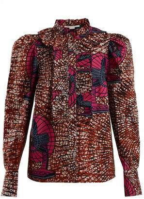 Stella McCartney Shaylee fan-print ruffle-trimmed blouse