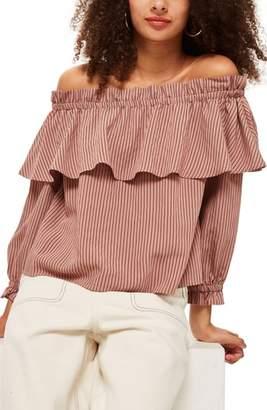 Topshop Stripe Ruffle Bardot Top