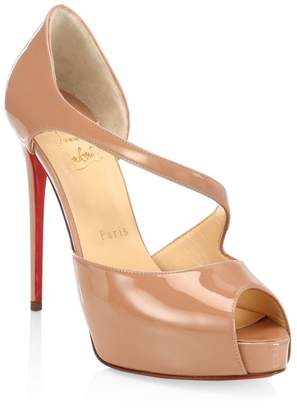 Christian Louboutin Catchy Two 120 Patent Leather Peep Toe Pumps