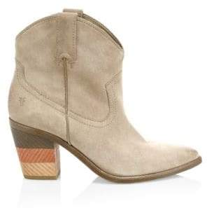 Frye Women's Faye Suede Stacked Heel Cowboy Boots - Grey - Size 6