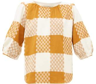 Ace&Jig Goldie Balloon Sleeve Checked Cotton Blouse - Womens - Beige Multi
