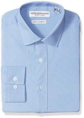 Nick Graham Men's Modern Fitted Micro Pin Dot Print Stretch Dress Shirt