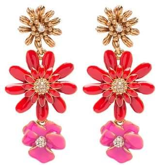 Oscar de la Renta Painted Floral Clip On Drop Earrings