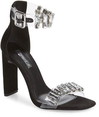 Topshop Rogue Crystal Embellished Clear Sandal