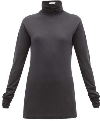 Lemaire Roll Neck Cotton Blend Top - Womens - Dark Grey