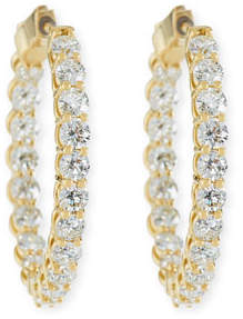 American Jewelery Designs Large Diamond Hoop Earrings in 18K Yellow Gold