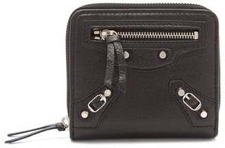 Balenciaga Classic Bi Fold Zip Around Leather Wallet - Womens - Black