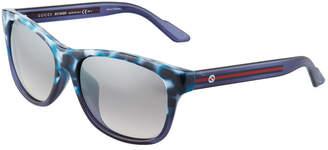 Gucci Plastic Square Sunglasses, Blue/Multi