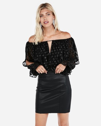 Express Minus The) Leather Mid-Thigh Skirt