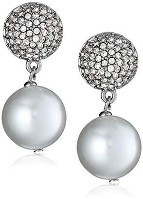 Kenneth Jay Lane Bride Simulated Pearl Fireball Crystal Dangle Earrings