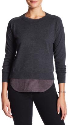 Brochu Walker Wool-Linen Blend Francine Layered Crew Sweater $318 thestylecure.com