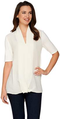 Halston H By H by Short Sleeve Knit Top with Chiffon Drape Front