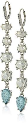 Betsey Johnson Women's La La Mixed Faceted Stone Linear Drop Earrings
