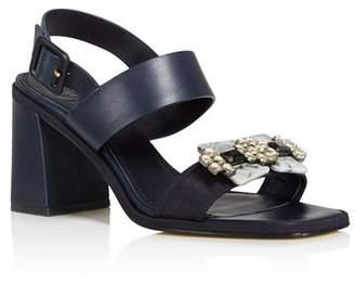 578e69b036c Tory Burch Women s Delaney Embellished Leather Block Heel Sandals