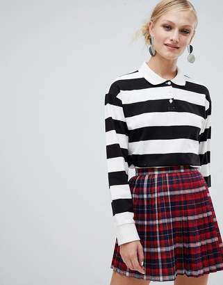 Monki rugby collar top in black and white stripe