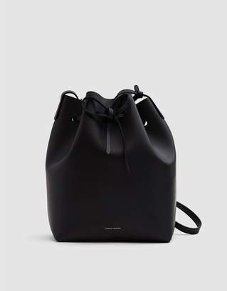 Mansur Gavriel Leather Bucket Bag in Black/Blue