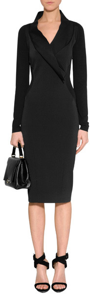 Donna Karan Black Cotton-Blend Fluid Crepe V-Neck Double Jersey Dress