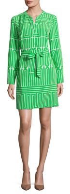 Trina Turk Janny Printed Silk Shirtdress $328 thestylecure.com