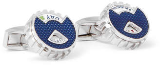 Tateossian Wheel of Fortune Rhodium-Plated Rotating Cufflinks