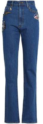 Marc Jacobs Appliquéd High-Rise Straight-Leg Jeans
