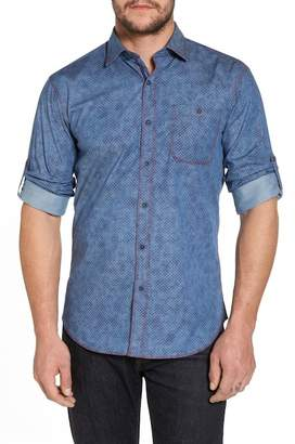 Bugatchi Slim Fit Button Tab Sport Shirt