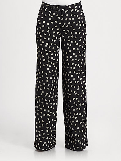 Derek Lam 10 Crosby Yarn Polka-Dot Silk Pants