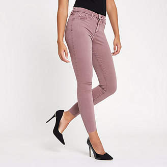 River Island Dark pink Molly mid rise jeggings