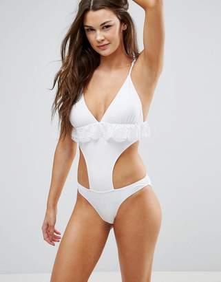 Vero Moda Cutout Frill Swimsuit