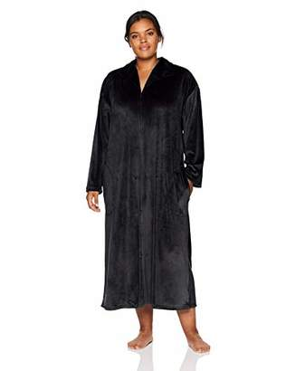 Arabella Women's Plus Size Stretch Velvet Zip Robe