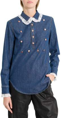Philosophy di Lorenzo Serafini Denim Shirt With Lace