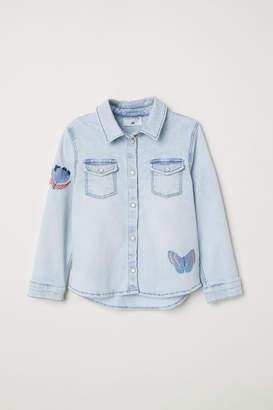 H&M Denim Shirt with Appliques - Blue