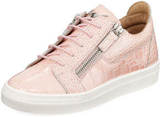 Giuseppe Zanotti Selma Snake-Embossed Leather Low-Top Sneaker, Toddler