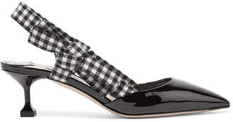 Miu Miu Patent-leather And Gingham Canvas Slingback Pumps
